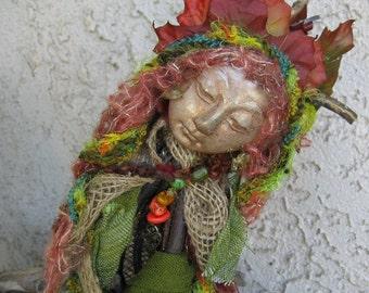 OOAK Art Doll, Zen Garden Quan Yin Moon, Assemblage  by Griselda