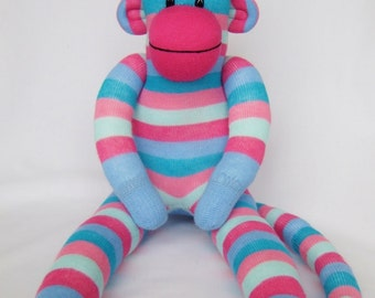 Pink and Blue Stripe Sock Monkey (made to order)
