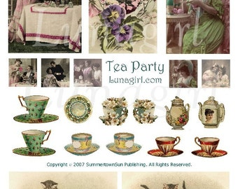 TEA PARTY digital collage sheet teacups teapot vintage ladies couples china kittens cats Victorian cards altered art ephemera DOWNLOAD