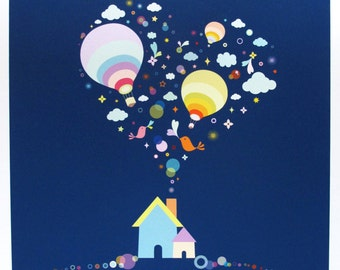"Home Sweet Home Print...  Giclee print of an original illustration (7.75"" x 7.75"")"