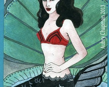 Bettie Page Mermaid  Pin-up on a Half Shell