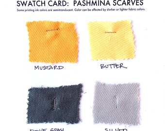 4 pashmina scarf swatch samples. Color matching card for custom order scarf sets. Choose from over 50 scarf fabric colors.
