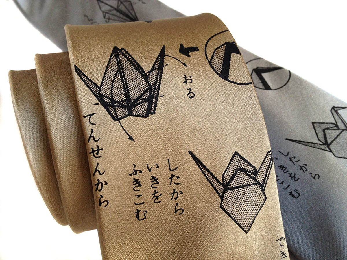 Origami Crane silk necktie. Japanese script & paper folding. - photo#15