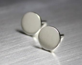 Thumbtack Earrings, Circle Earrings, Silver Earrings, Matte finish