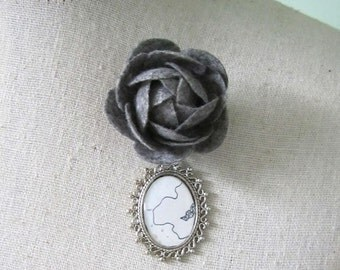 Flower Brooch Pin , Decorative Pin , Collage Art Jewelry , Mixed Media Jewelry