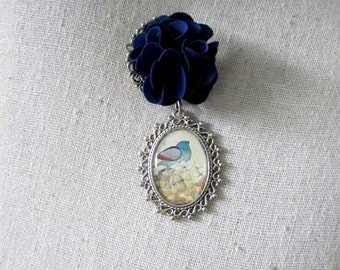 Blue Bird Brooch Pin , Animal Brooch, Decorative Pin, Flower Pin, Mixed Media Jewelry , Whimsical Jewelry