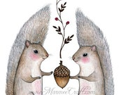 "Squirrel acorn art print- ""Harvest Come"""