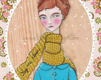 "Scarf girl art print, ""Last Snow This Year"""