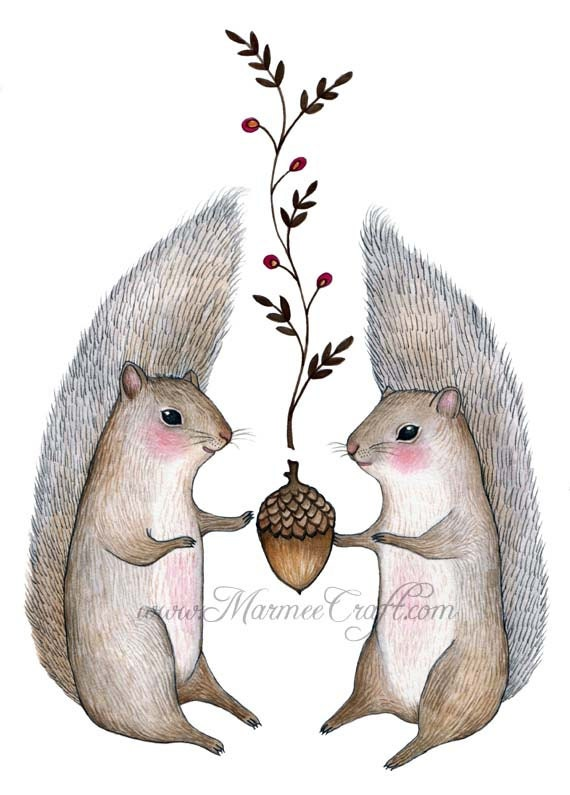 """Squirrel acorn art print- """"Harvest Come"""""""
