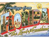 Florida Big Letter Post Card Fabric Applique, Retro Florida Cotton Fabric Quilt Block, Crazy Quilt Panel, Art Quilts, Sewing, Craft Projects