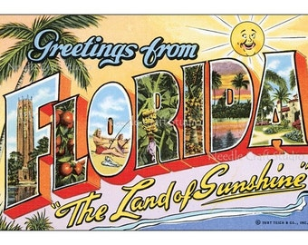 """Retro Florida 5"""" x 7"""" Big Letter Post Card Fabric Applique, Cotton Fabric Quilt Block, Crazy Quilt Panel, Art Quilts, Sewing, Craft Projects"""