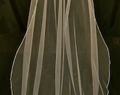 Wedding Veil Swarovski Crystal Rhinestone Silk Pencil Edge Sheer Floor Bridal Veil