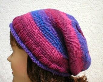 Slouchy rolled brim hat, royal blue purple, tweed striped hat, ski snowboard, skateboard, womens hat, chemo cap, slouchy hat, toque, garden