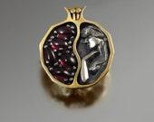 Small POMEGRANATE garnet bronze and silver pendant - Ready to ship