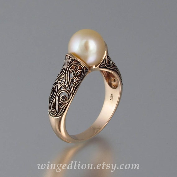 Items Similar To The Enchanted Pearl 14k Rose Gold Ring On