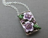 "Lilac Rhinestones Flower Necklace // Enamel Flowers with Purple Rhinestone Charm // Photo Frame // 17"" Silver Chain"