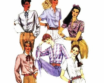 1980s Womens Buttoned Shirt Pattern McCalls 7172 Vintage Sewing Pattern Size 14 Bust 36