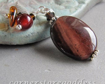 Tigers Eye Tiger Eye Mookaite Baltic Amber Gemstone Prosperity Charm Pendant by Cornerstoregoddess