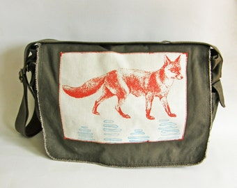 Fox Messenger Bag--Applique-Screen Printed Cotton Canvas-Gift for Women or Men- Orange, Turquoise Ink
