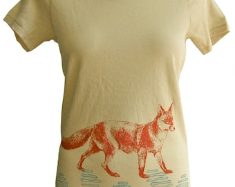 Fox Women's Organic Cotton Graphic Tee Shirt,  Hand Screen Printed--Gift for Women--Natural Ivory, Orange, Turquoise