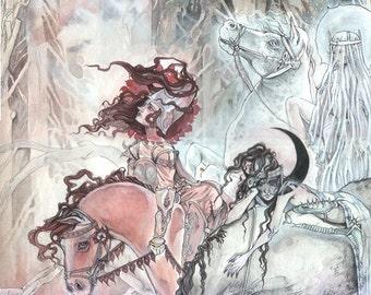Bright Dawn, Red Sun, Dark Midnight // Magic / Fantasy Art Print