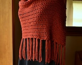 Crochet Shawl with Fringe Custom Color Shawl Crochet Scarf Fringed Shawl