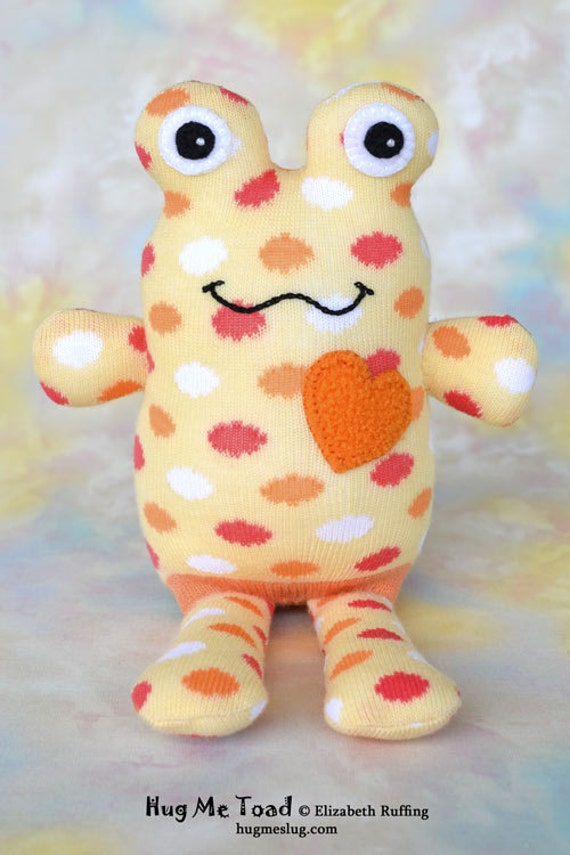 Handmade Sock Toad, Stuffed Animal Sock Doll Art Toy, Hug Me Toad, Personalized Hang Tag, Soft Yellow, Polka Dots, 10 inch, Ready-made