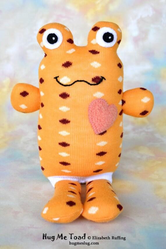 Handmade Sock Toad, Stuffed Animal Sock Doll Art Toy, Hug Me Toad, Personalized Hang Tag, Light Orange, Polka Dots, 10 inch, Ready-made