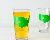 Colorado Love USA pint glass  SCREEN PRINTED pint glasses green
