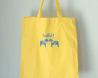 HALLA DALA TOTE swedish blue horses on yellow screen printed cotton bag