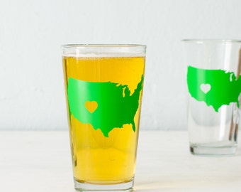 Colorado Love USA pint glass  SCREEN PRINTED pint glasses green