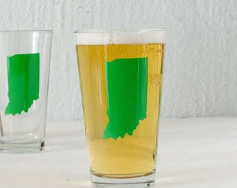 Indiana pint glass  SCREEN PRINTED pint glasses GREEN