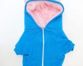 Dog  Monster Hoodie - Aqua with pink - Size XXLarge - Pet - monster hoodie, horned sweatshirt, custom jacket