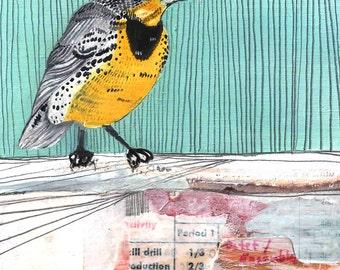Art - Art Print - Print of Oil Painting - Bird Print - Bird Art - Collage Print Western Meadow Lark Print - 8x10 Print - Western Meadow Lark