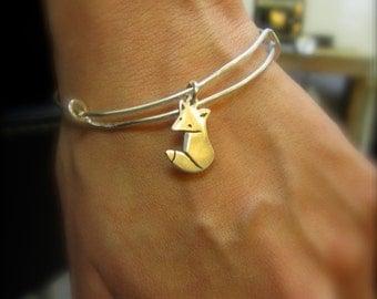 Little Fox Bracelet - Sterling Silver Starter Charm Bangle - Choose Your Charm