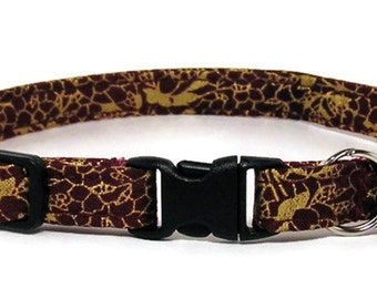 Cat Collar - Fancy Wine and Gold - Breakaway Safety Cute Fancy Cat Kitten Collar