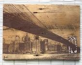 Brooklyn Bridge Wall Hanging on Reclaimed Barn Wood in Brown