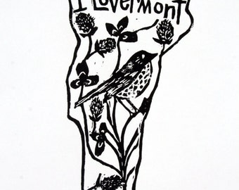 """Vermont state linoleum block print with text + state bird and flower - 9""""x12"""" wall art"""