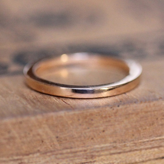 Thin Rose Gold Band 2mm Wedding Solid Ring 14k
