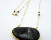 Stunning black druzy and multicolor pyrite necklace