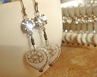 Dangle Earrings Golden Brass Earrings Heart Earrings Bridesmaid Earrings Vintage Wedding Earrings