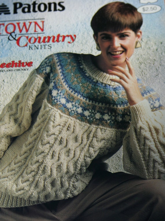 Patons Chunky Knitting Patterns : Sweater Knitting Patterns Town & Country Knits Beehive Patons