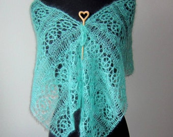 Lace Scarf Aqua Turquoise Mohair