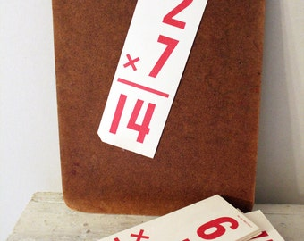 Lot of Ten Vintage Flash Cards- Red Numbers