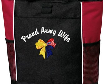 Proud Army, Air Force, Marine, Navy Wife Mom Girlfriend Aunt Grandmother Sister Embroidered Tote Bag Troop Support