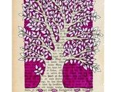 Tree - Magenta - Art print - wall art  - From Norwegian artist Annette Mansgeth