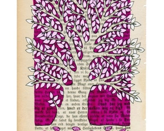 Tree - Magenta - Art print - wall art  - From Norwegian artist Annette Mansgeth