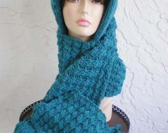 blue knit hood scarf hat  hand crochet  hood scarf hat womens accessories winter hat scoodie ~ hood shells ~ blue -  made to order