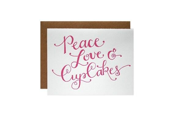 Peace Love Cupcakes Letterpress Card