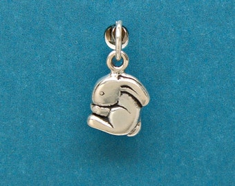 Sterling Silver Bunny Rabbit Animal Mini Charm for Bracelet or Anklet no. 1709